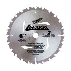 Milwaukee  Endurance  Carbide  Circular Saw Blade  6-1/2  24 teeth 1 pc. 5/8  0.06 in. thick