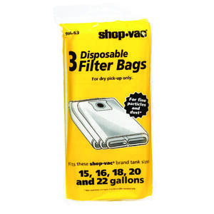 Shop-Vac  25 in. L x 11 in. W Dry Filter Bags  15-22 gal. White  3 pk