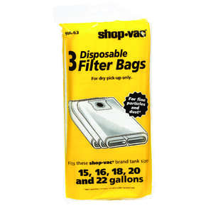 Shop-Vac  25  L x 11 in. W Dry Filter Bags  15-22 gal. White  3 pk