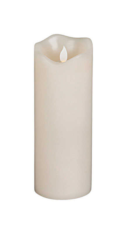 Gerson  Ivory  LED  Flameless Pillar Candle  8 in. H x 3 in. Dia.
