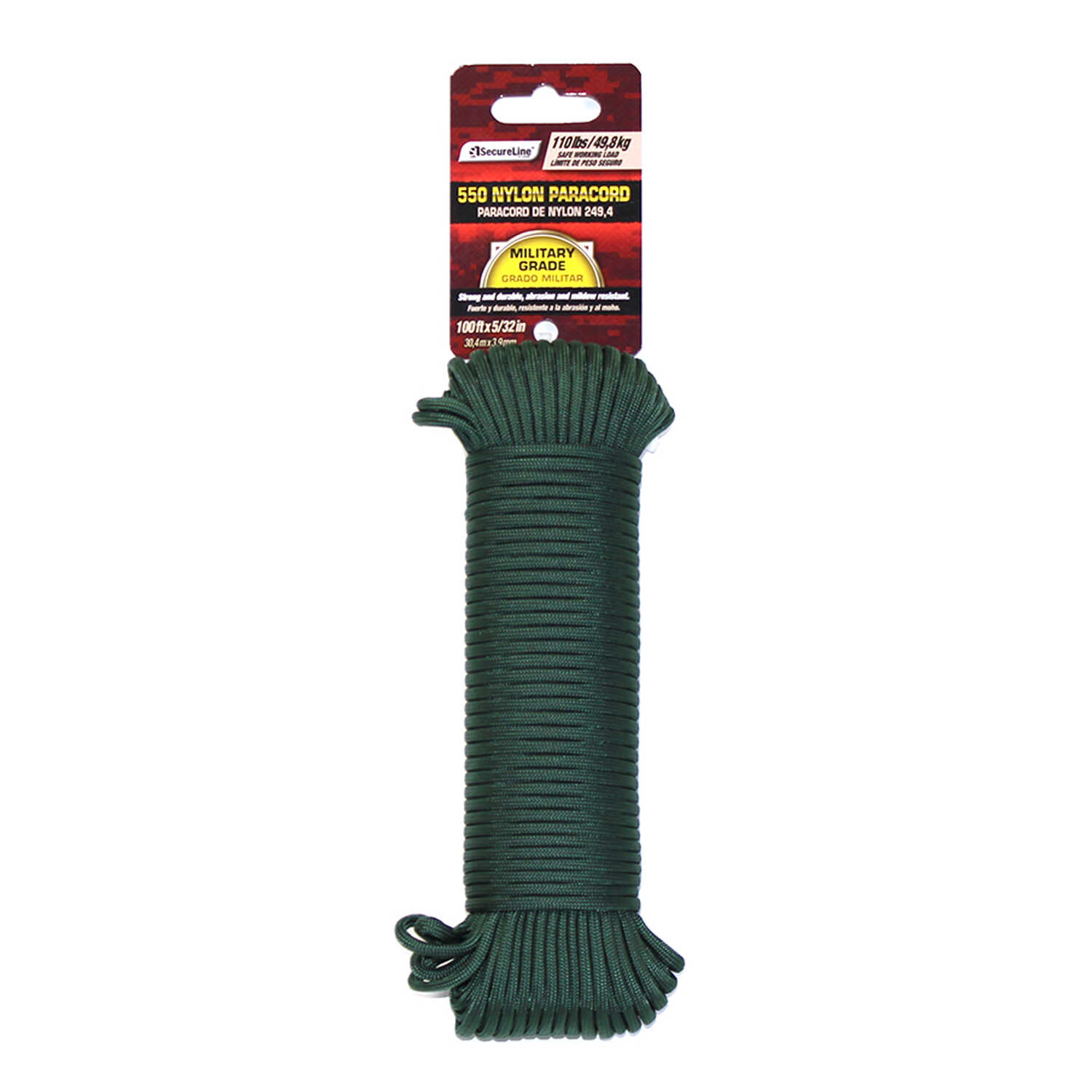 SecureLine  100 ft. L x 5/32 in. Dia. Green  Nylon  Braided  Paracord