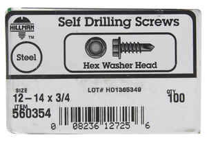 Hillman  12-14 in.  x 3/4 in. L Hex Washer Head Zinc-Plated  Steel  Sheet Metal Screws  100  1 pk