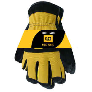 CAT  Men's  Split Leather  Palm  Work Gloves  Black/Yellow  L  2 pk