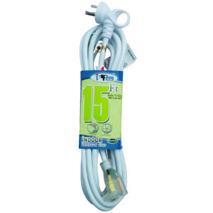 Conntek  Indoor and Outdoor  15 ft. L White  Extension Cord  16/3 SJTW