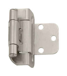 Amerock  1-7/8 in. W x 2-1/4 in. L Satin Nickel  Steel  Self-Closing Hinge  2 pk