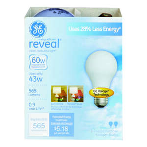 GE Lighting  Reveal  43 watts A19  Halogen Bulb  565 lumens Soft White  2 pk Medium Base (E26)  A-Li