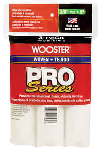 Wooster  Pro Series  Woven  3/8 in.  x 9 in. W Paint Roller Cover  For Semi-Smooth Surfaces 3 pk