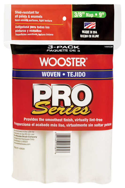 Wooster  Pro Series  Woven  3/8 in.  x 9 in. W For Semi-Smooth Surfaces 3 pk Paint Roller Cover