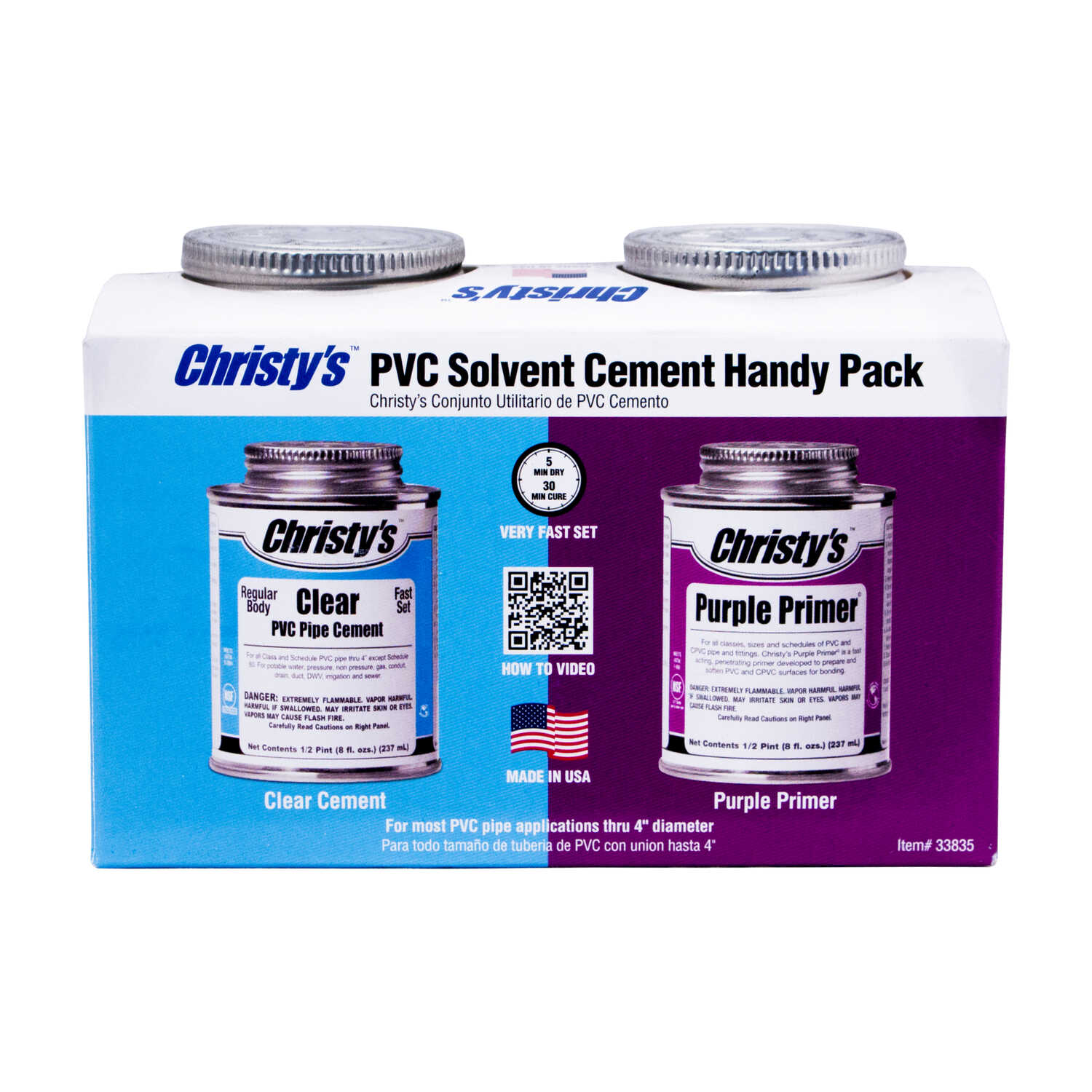Christys  Handy Pack  Clear/Purple  Primer and Cement  For CPVC/PVC 2 pk 2 pk Clear/Purple