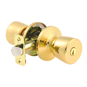 Ace  Tulip  Polished Brass  Entry Lockset  ANSI Grade 3  1-3/4 in.