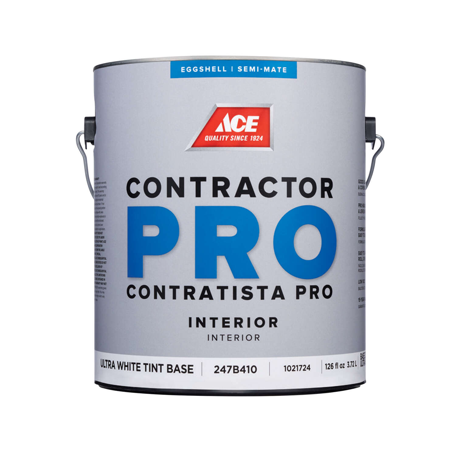 Ace  Contractor Pro  Eggshell  Tint Base  Ultra White Base  Paint  Interior  1 gal.