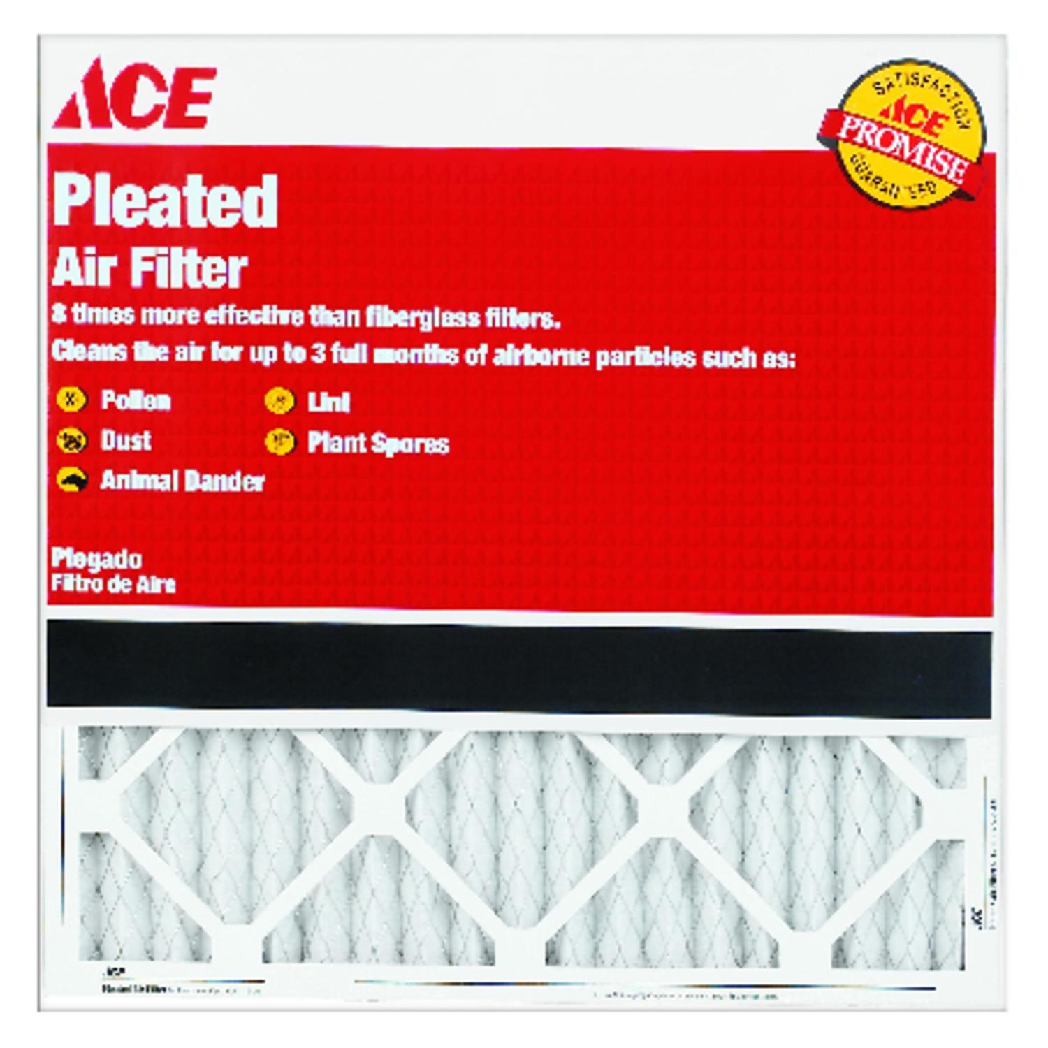 Ace  25 in. H x 16 in. W x 1 in. D Pleated  Air Filter