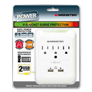 Monster Cable  Just Power It Up  540 J 3 outlets Surge Tap