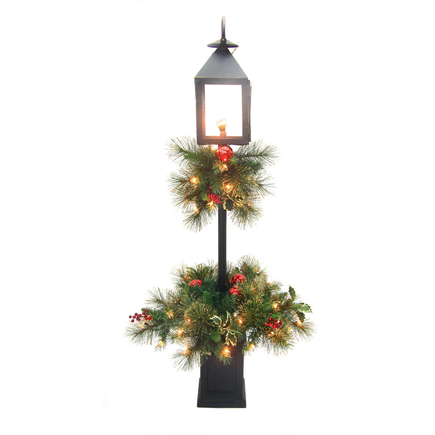Greenfields  Lantern with Pole  Christmas Decoration  Black  Metal  1 each