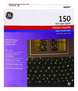 GE  Constant On  Incandescent  Net  Light Set  Clear  24 sq. ft. 150 lights