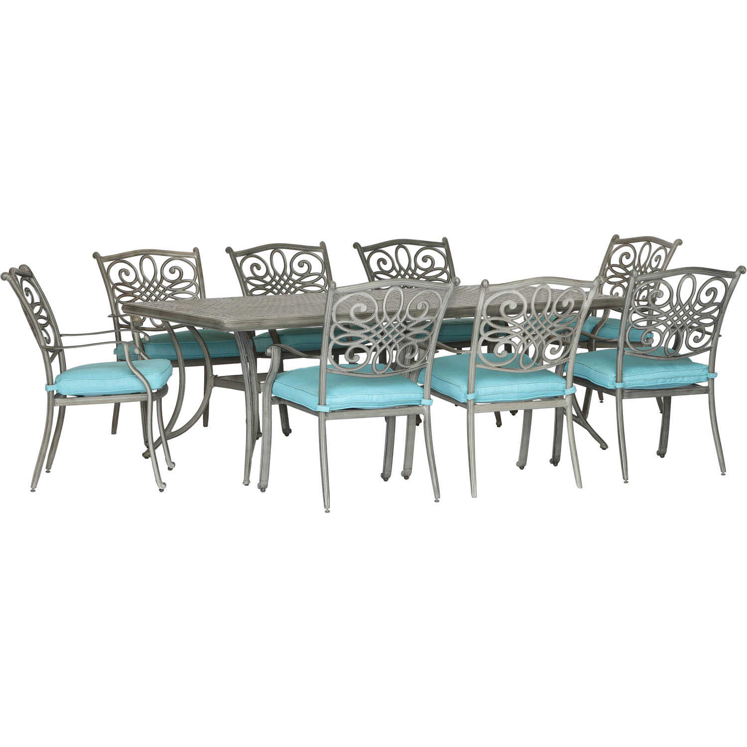 Hanover  Traditions  9 pc. Bronze  Aluminum  Patio Set  Blue