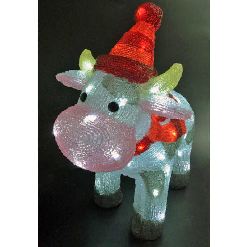 Celebrations  LED Cow  Christmas Decoration  Multicolored  Acrylic  1 pk