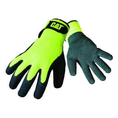 Caterpillar  Men's  Indoor/Outdoor  Latex Coated  Palm  Work Gloves  High-Vis Green  L  1 pair