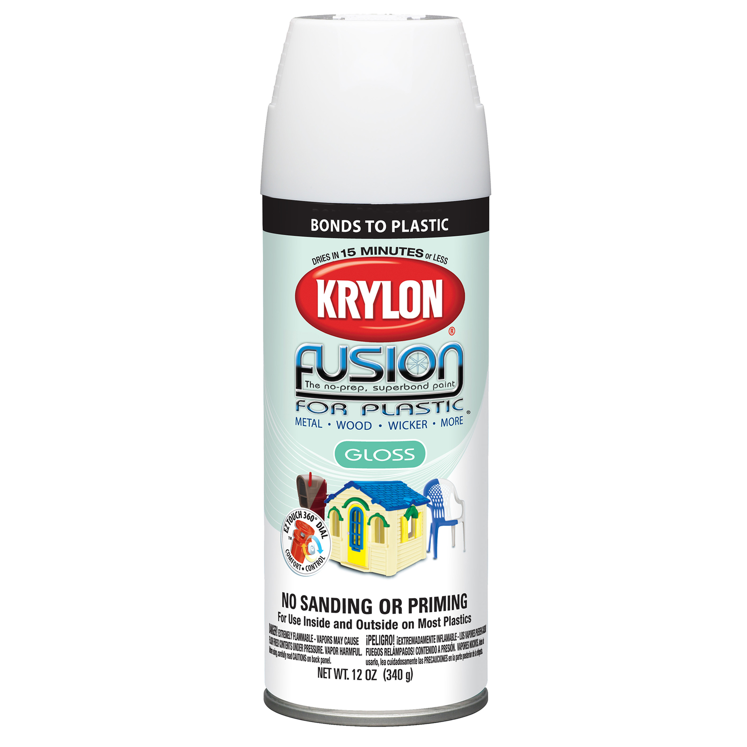 Krylon  Gloss  White  12 oz. Fusion Spray Paint