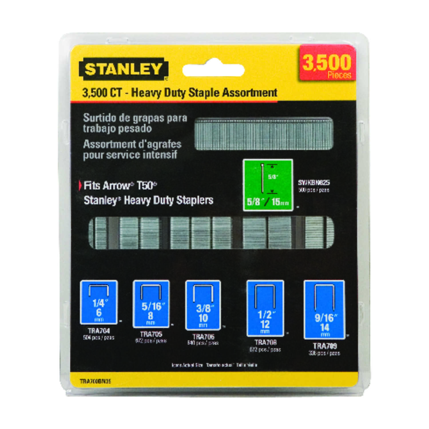 Stanley  9/16 in. L Steel  Heavy Duty Staples  20 Ga. 3500  Narrow Crown