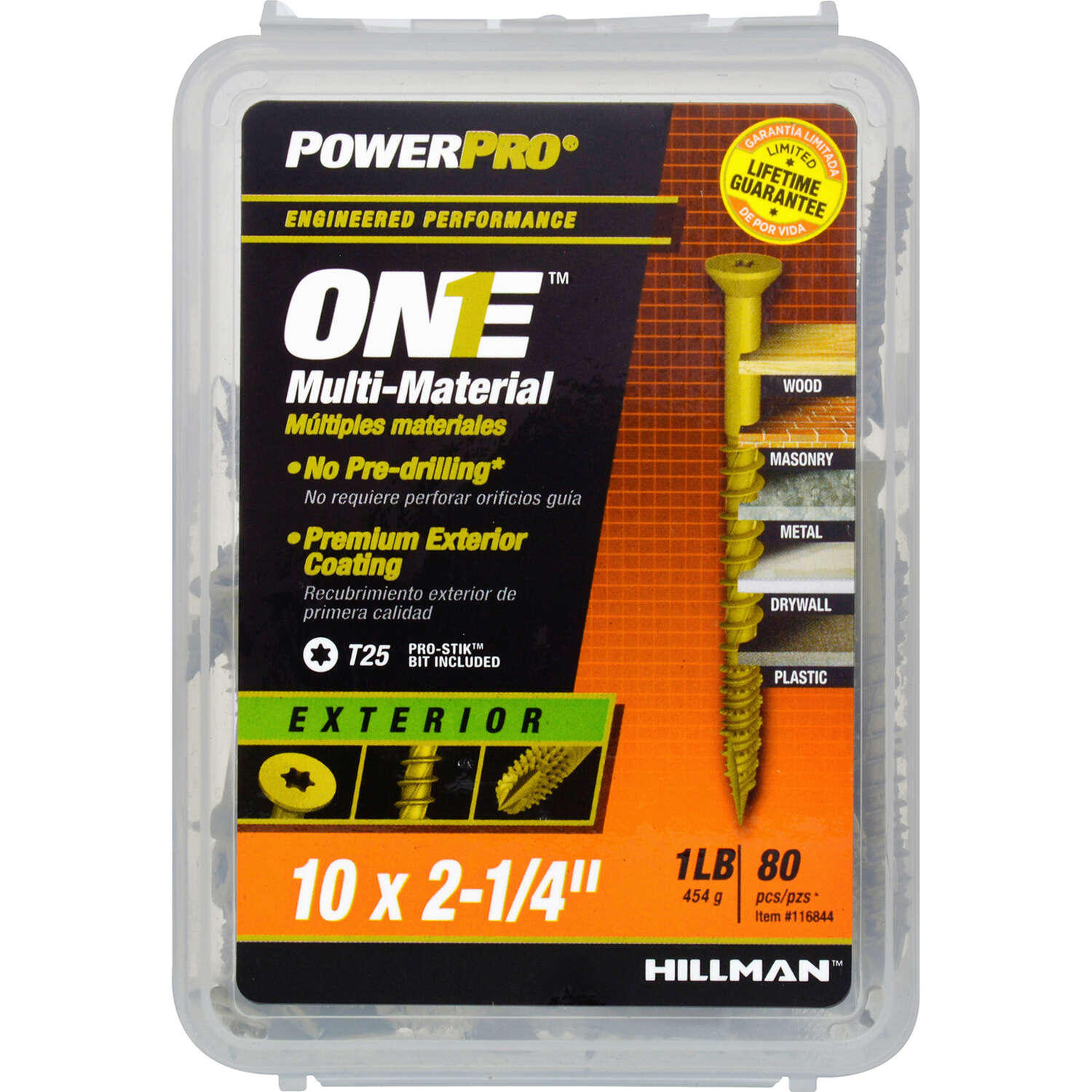 Hillman POWERPRO ONE No. 10 x 2-1/4 in. L Star Flat Head Multi-Material Screw 1 lb. 80 pk