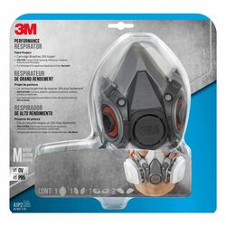 3M  P95  Paint Project  Half Face Respirator  Valved Gray  M  1 pc.