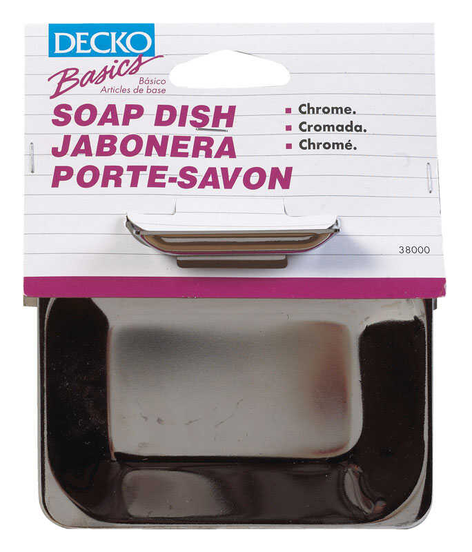 Decko  Soap Dish  4.8 in. W x 6 in. L x 1.8 in. H Chrome  Steel  Chrome