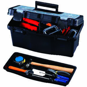 Stack-On  16 in. W x 8 in. H Plastic  Tool Box  Black  7 in.