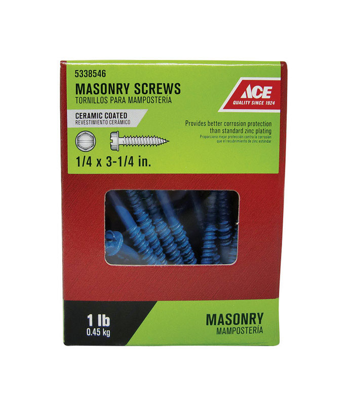 Ace  1/4 in.   x 3-1/4 in. L Slotted  Hex Washer Head Ceramic  Steel  Masonry Screws  36 each 1 lb.