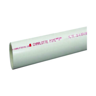 Charlotte Pipe Schedule 40 PVC Dual Rated Pipe 2 in. Dia. x 20 L Plain End 280 psi
