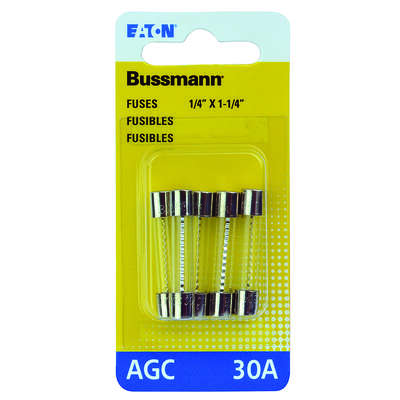 Bussmann 30 amps AGC Glass Tube Fuse 5 pk