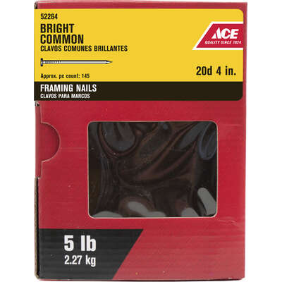 Ace  20D  4 in. Common  Bright  Steel  Nail  Round  5 lb.