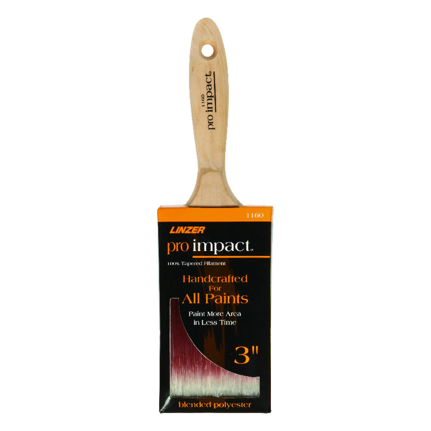 Linzer  3 in. W Pro Impact  Polyester Blend  Paint Brush  Flat