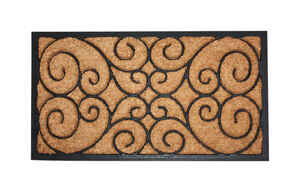 J & M Home Fashions  Black  Coir  Nonslip Floor Mat  18 in. L x 30 in. W