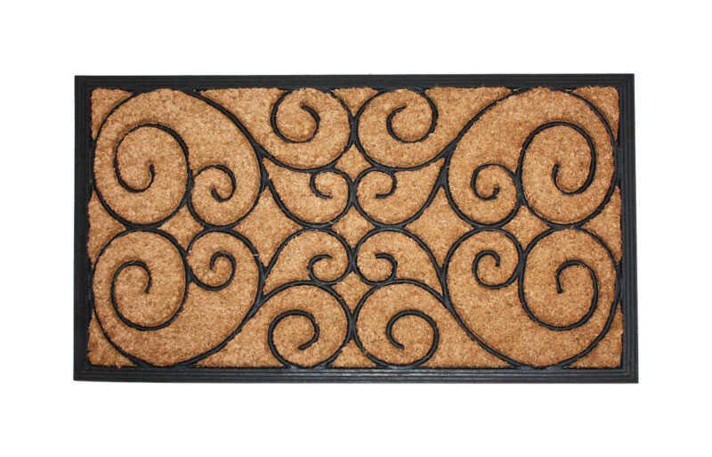 J Amp M Home Fashions Black Coir Nonslip Floor Mat 18 In L