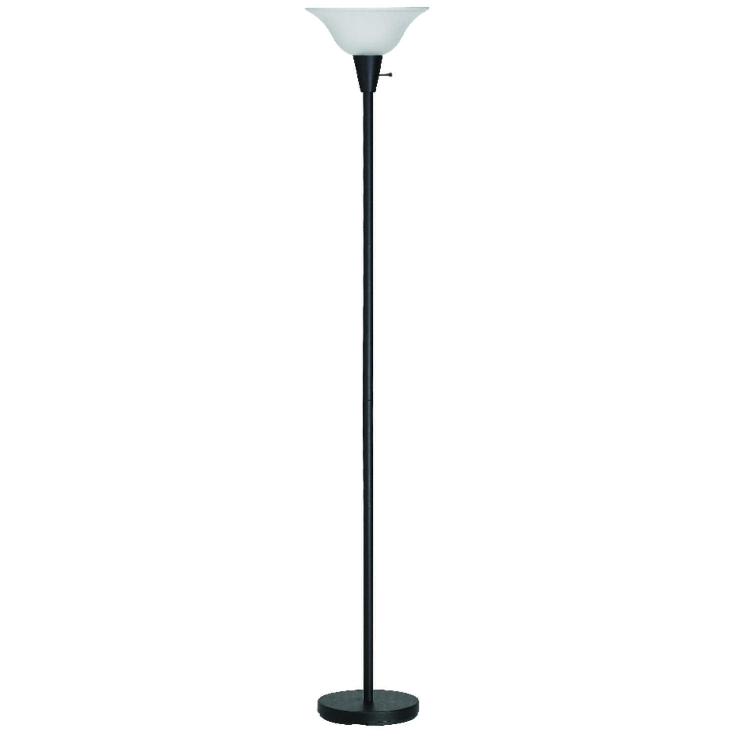 Living Accents  70 in. Matte  Black  Torchiere Floor Lamp