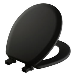 Mayfair  Never Loosens  Round  Black  Molded Wood  Toilet Seat