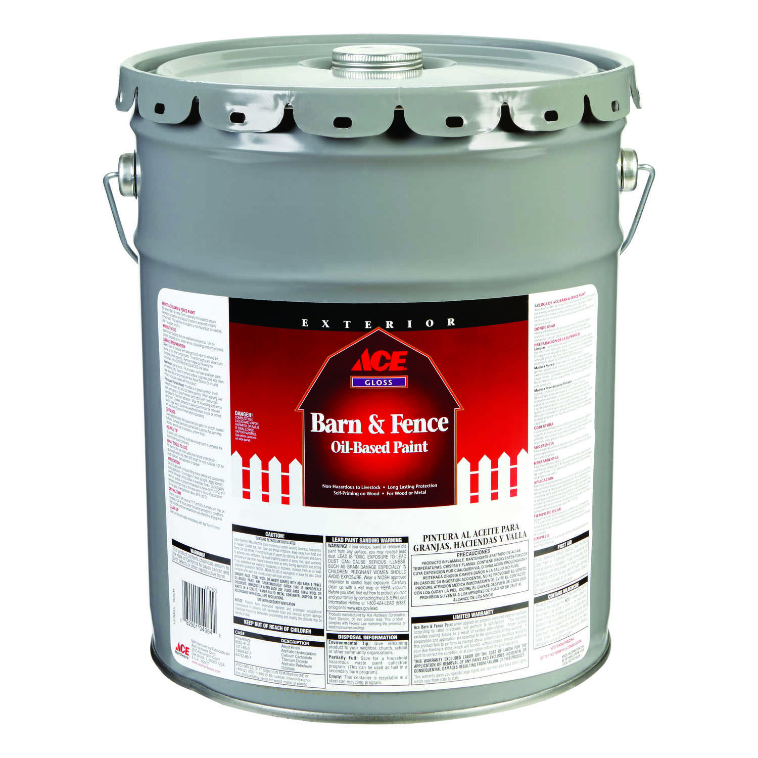 Ace  Gloss  Oil-Based  Barn and Fence Paint  5 gal. White