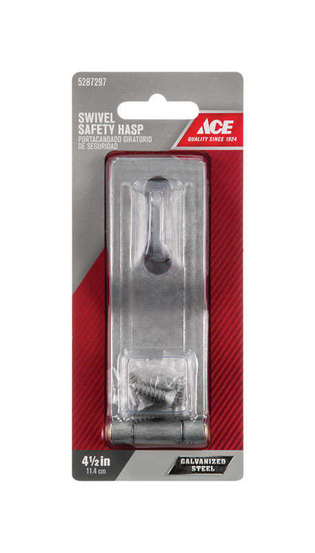 Ace  Galvanized  Steel  4-1/2 in. L Swivel Staple Safety Hasp