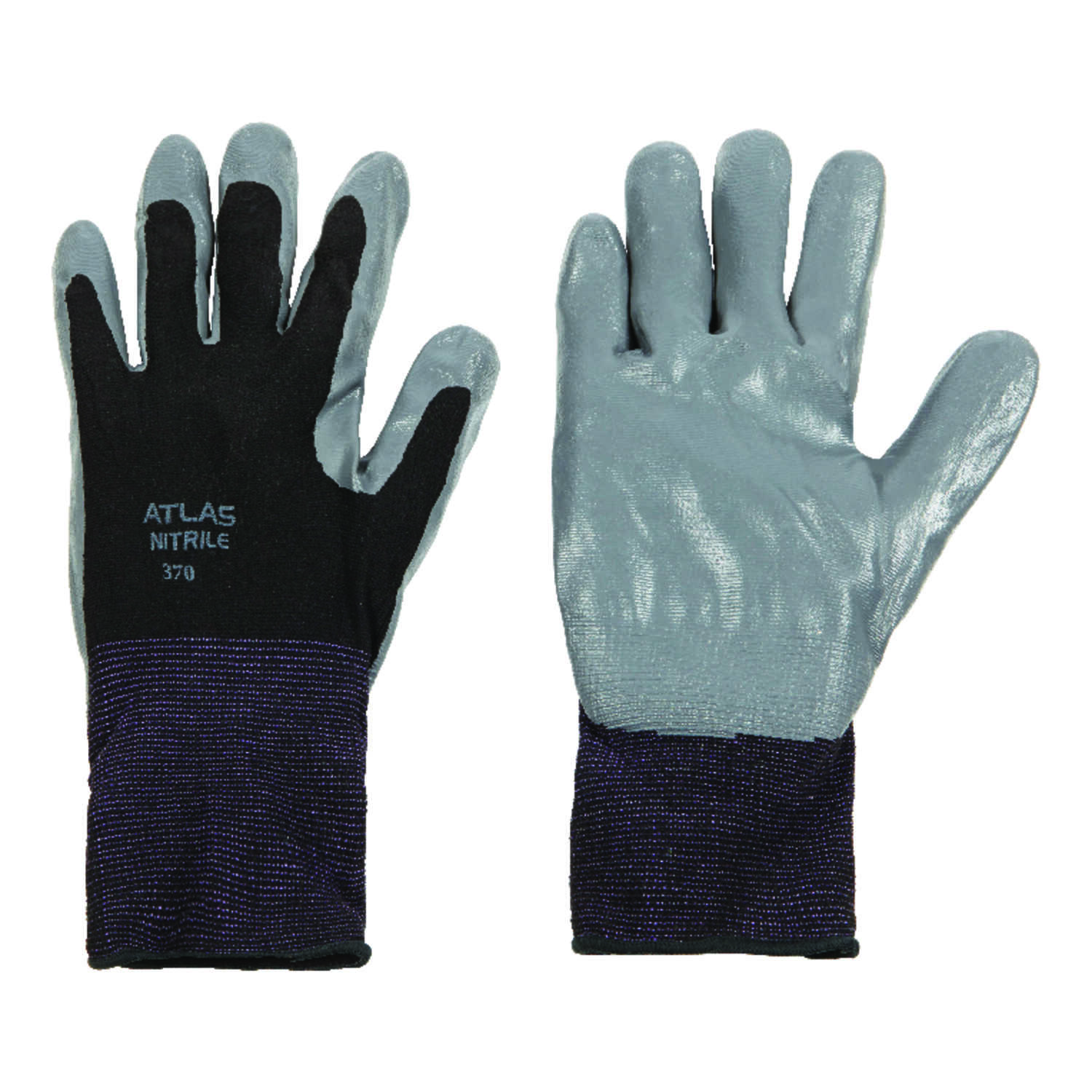 Atlas  Unisex  Indoor/Outdoor  Nitrile  Dipped  Gloves  Black/Gray  XL