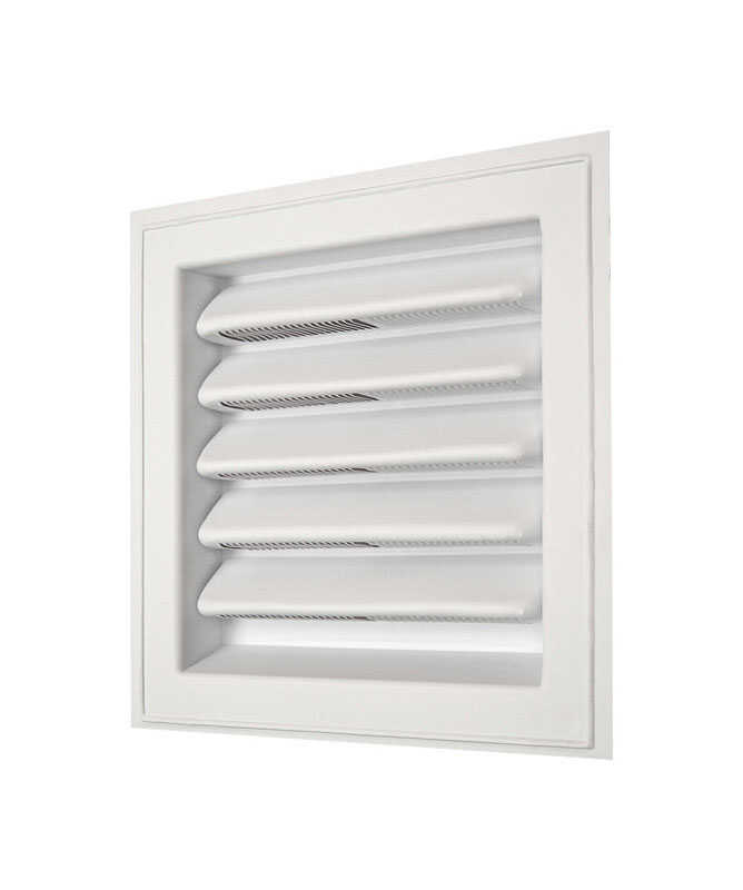 Master Flow  8 in. W x 8 in. L White  Plastic  Wall Louver