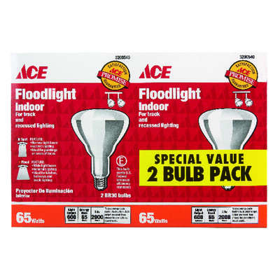 Ace  65 watts BR30  Floodlight  Incandescent Light Bulb  Medium Base (E26)  Soft White  2 pk