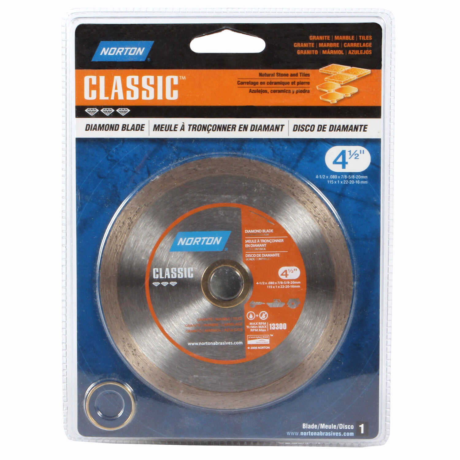 Norton  4-1/2  Dia. x 5/8 and 7/8   Classic  Continuous Rim Diamond Saw Blade  Diamond  1 pc.