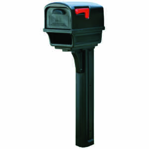 Gibraltar Mailboxes  Gibraltar  Gentry  Plastic  Post and Box Combo  Black  Mailbox w/Post  50 in. H
