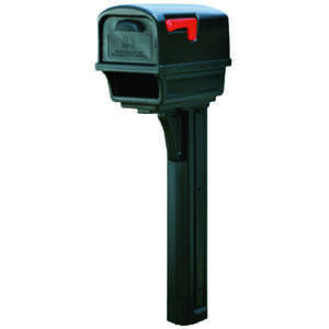 Gibraltar Mailboxes  Gibraltar  Gentry  Plastic  Post and Box Combo  Black  50 in. H x 21-3/4 in. L