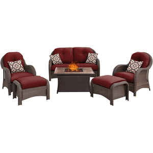 Hanover  Newport  6 pc. Antique Grey  Steel  Firepit Set  Crimson Red