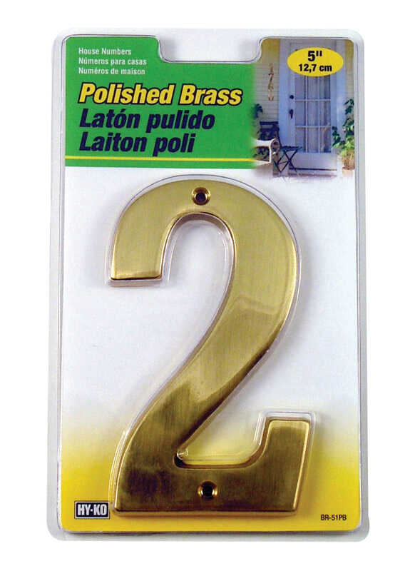 Hy-Ko  5 in. Brass  Gold  2  Number  Nail-On