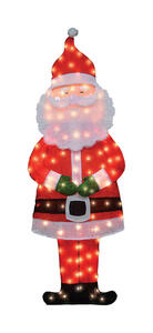 Candy Cane Lane  Santa  Yard Art  Red/White  1 pk Metal