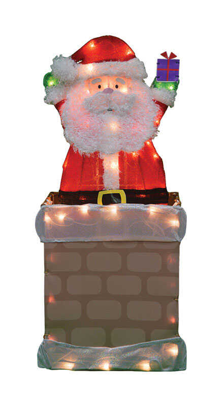 Candy Cane Lane  Pre-Lit Santa in Chimney  Yard Art  Metal  1 pk Red/Brown