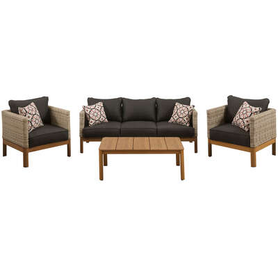 Mod  Blake  4 pc. Brown  Aluminum Frame Seating Set  Black